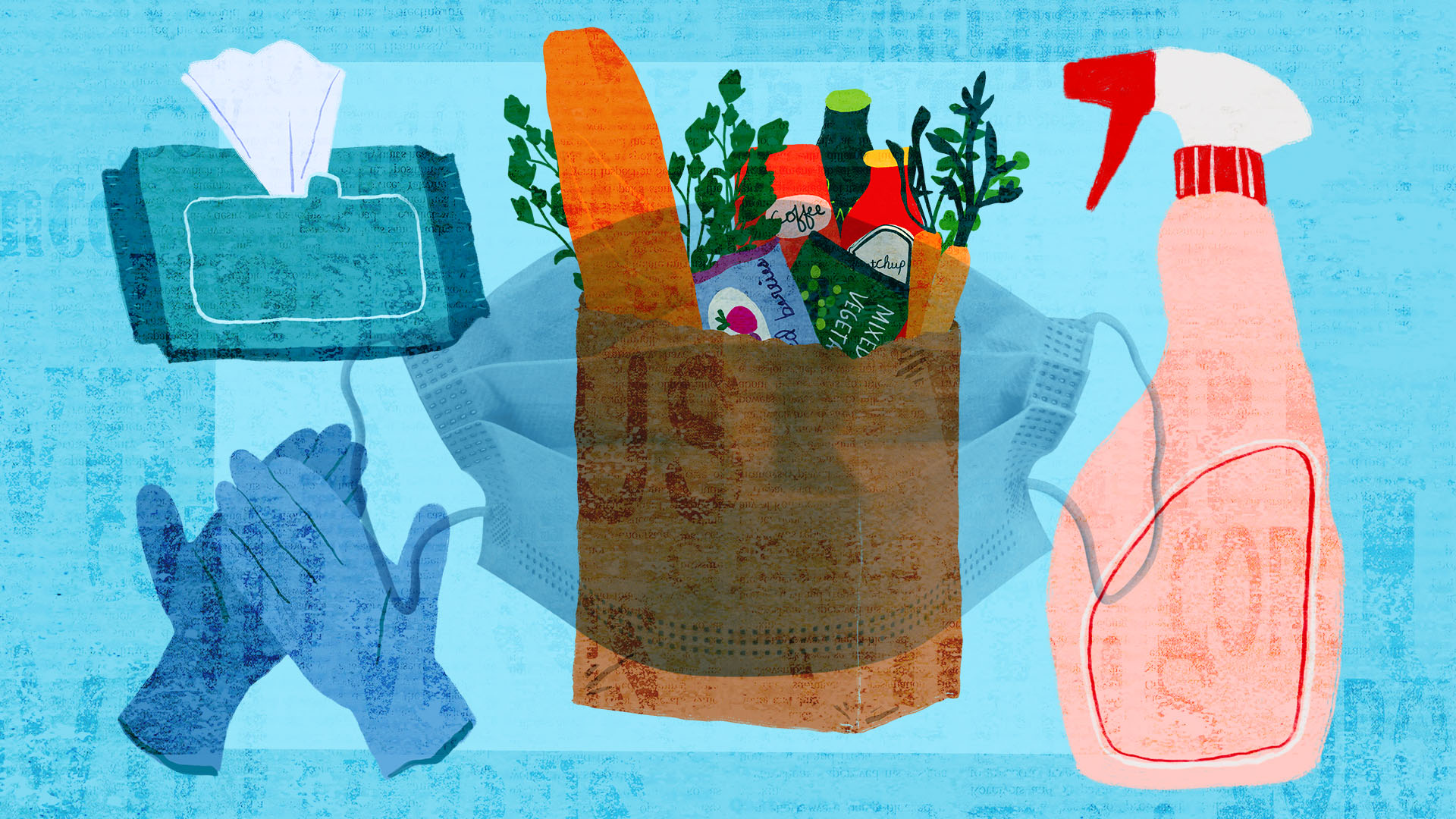 illustration of cleaning supplies, mask, gloves and groceries on a blue background