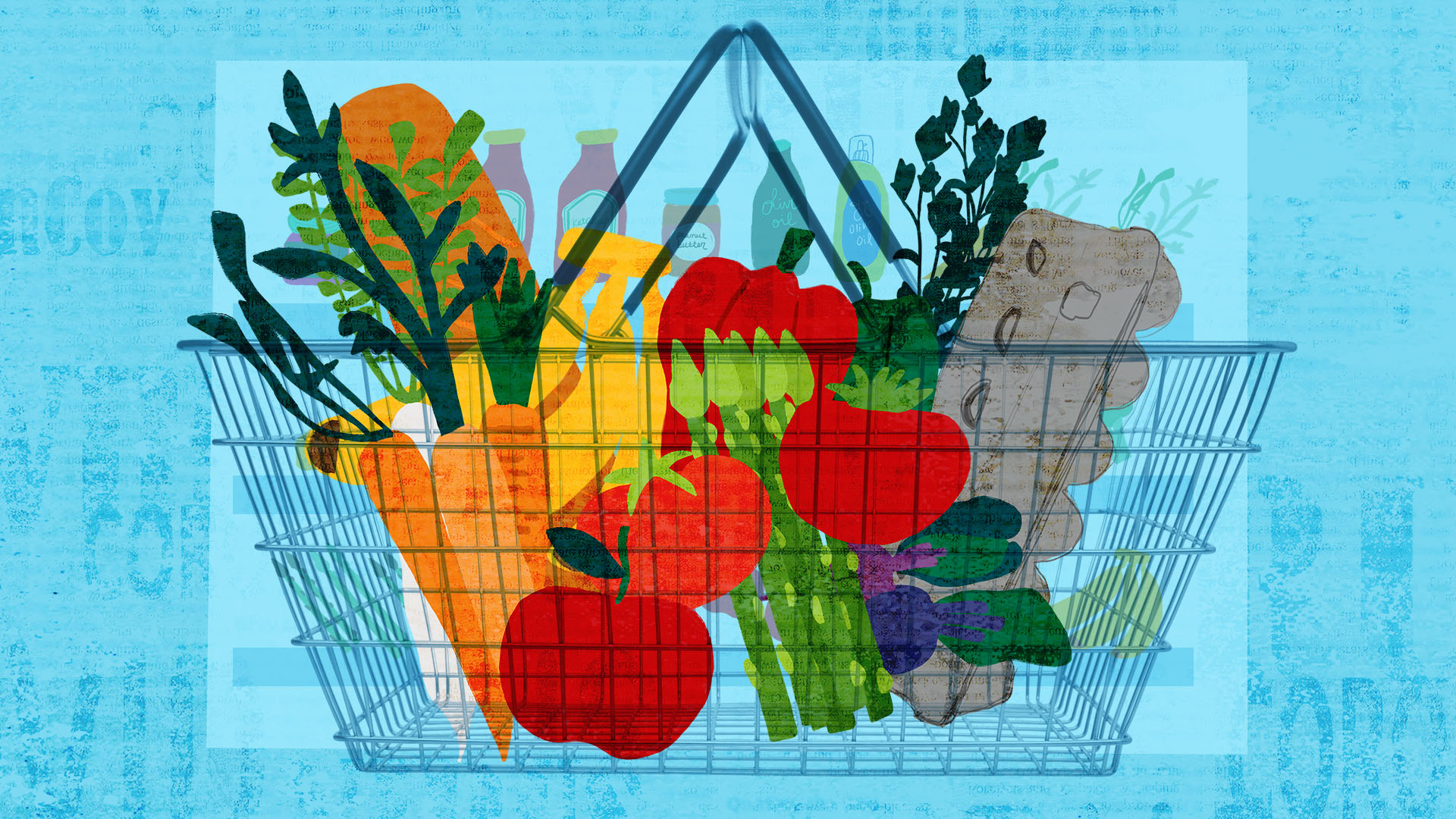 illustration of a grocery basket filled with produce on a blue background