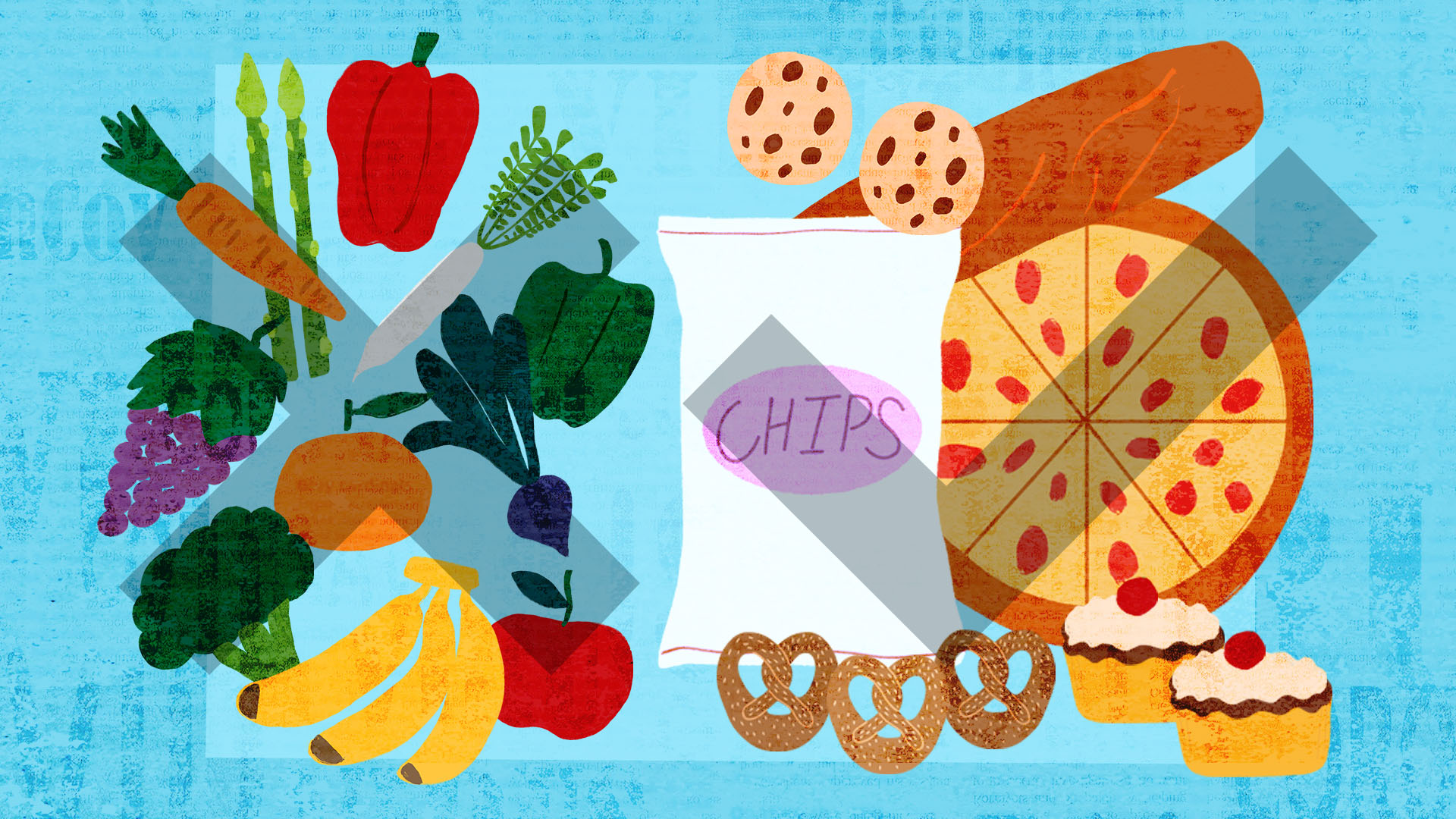 illustration of various foods on blue background