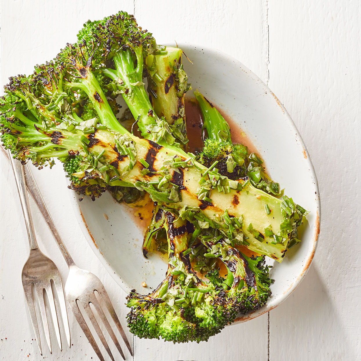 Grilled Broccoli Wedges with Herb Vinaigrette