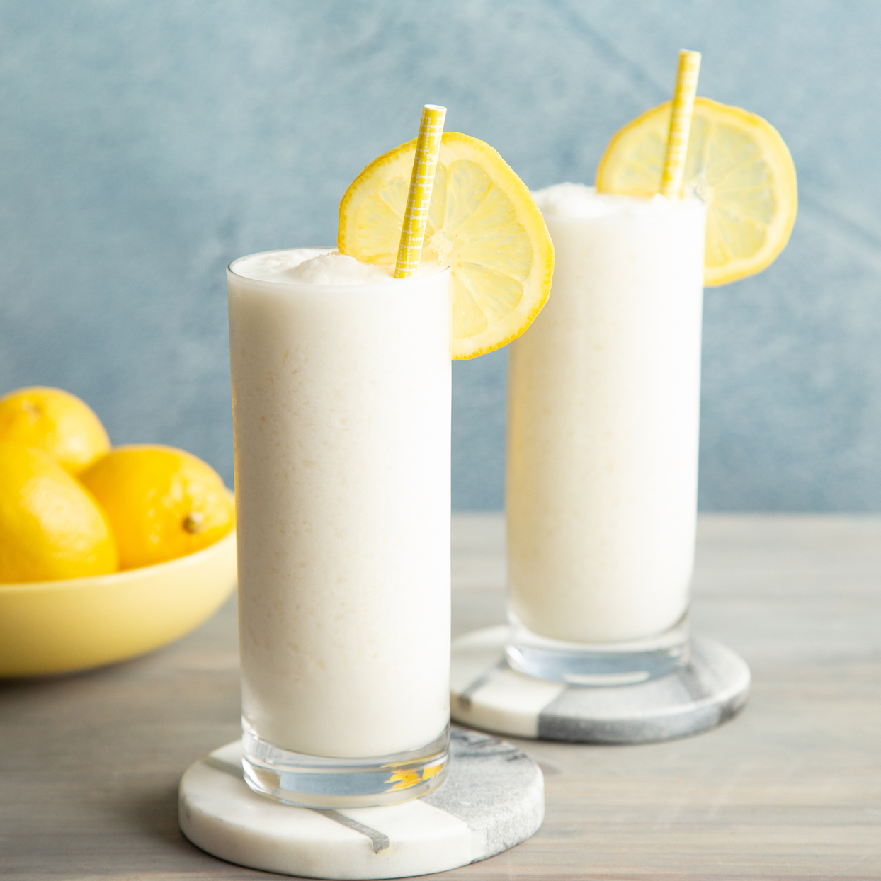 two glasses of whipped frozen lemonade