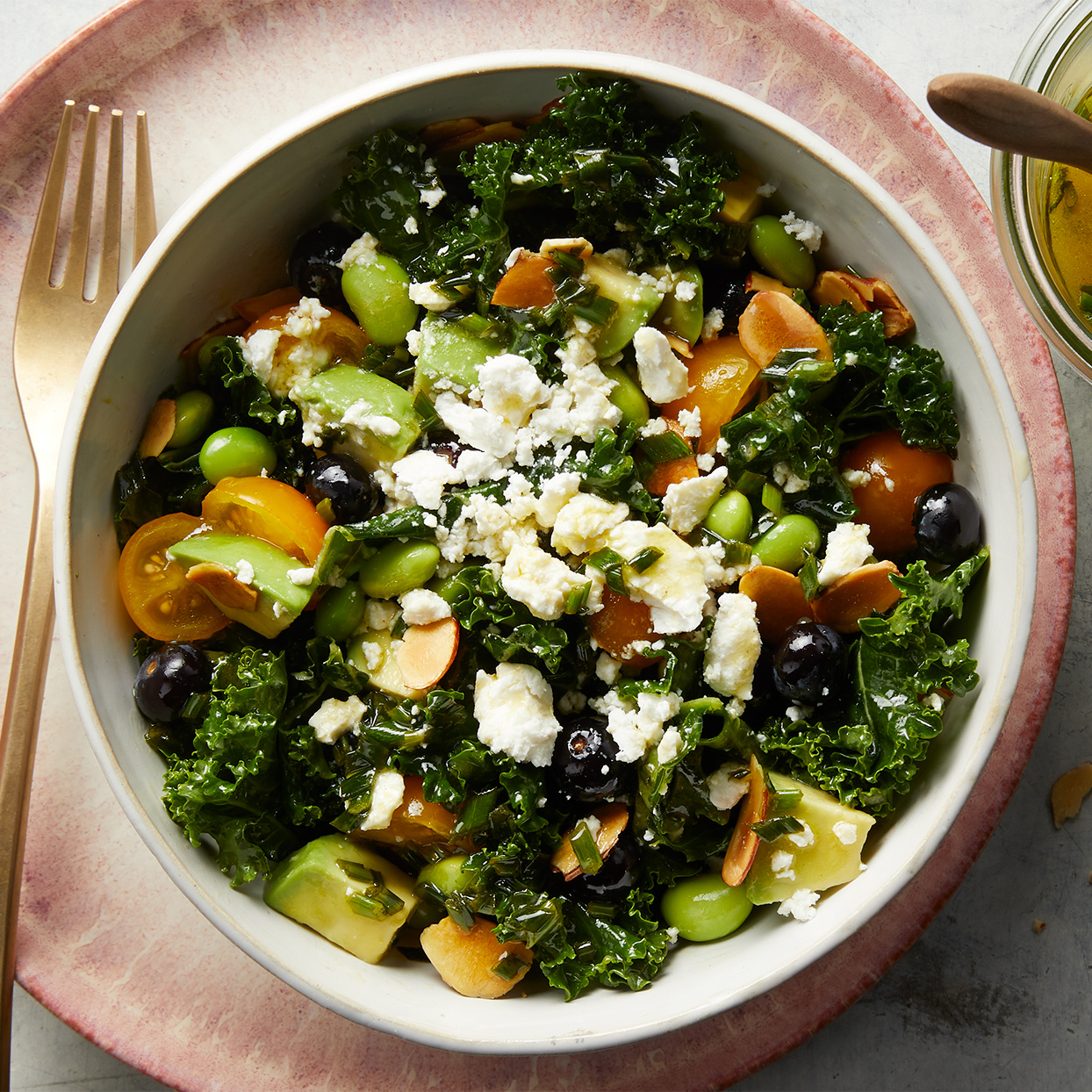 Kale & Avocado Salad with Blueberries & Edamame