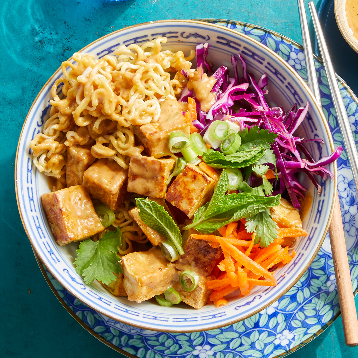 Chinese Crispy Noodles with Tofu & Peanut Sauce