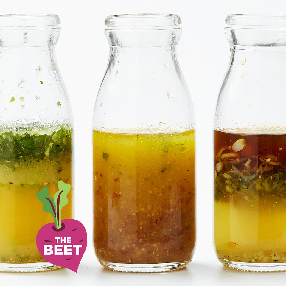 photo of salad dressings in glass bottles