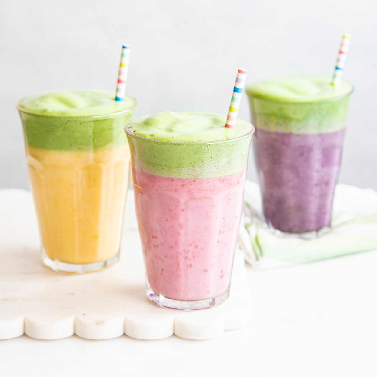 Whipped Matcha Fruit Smoothies