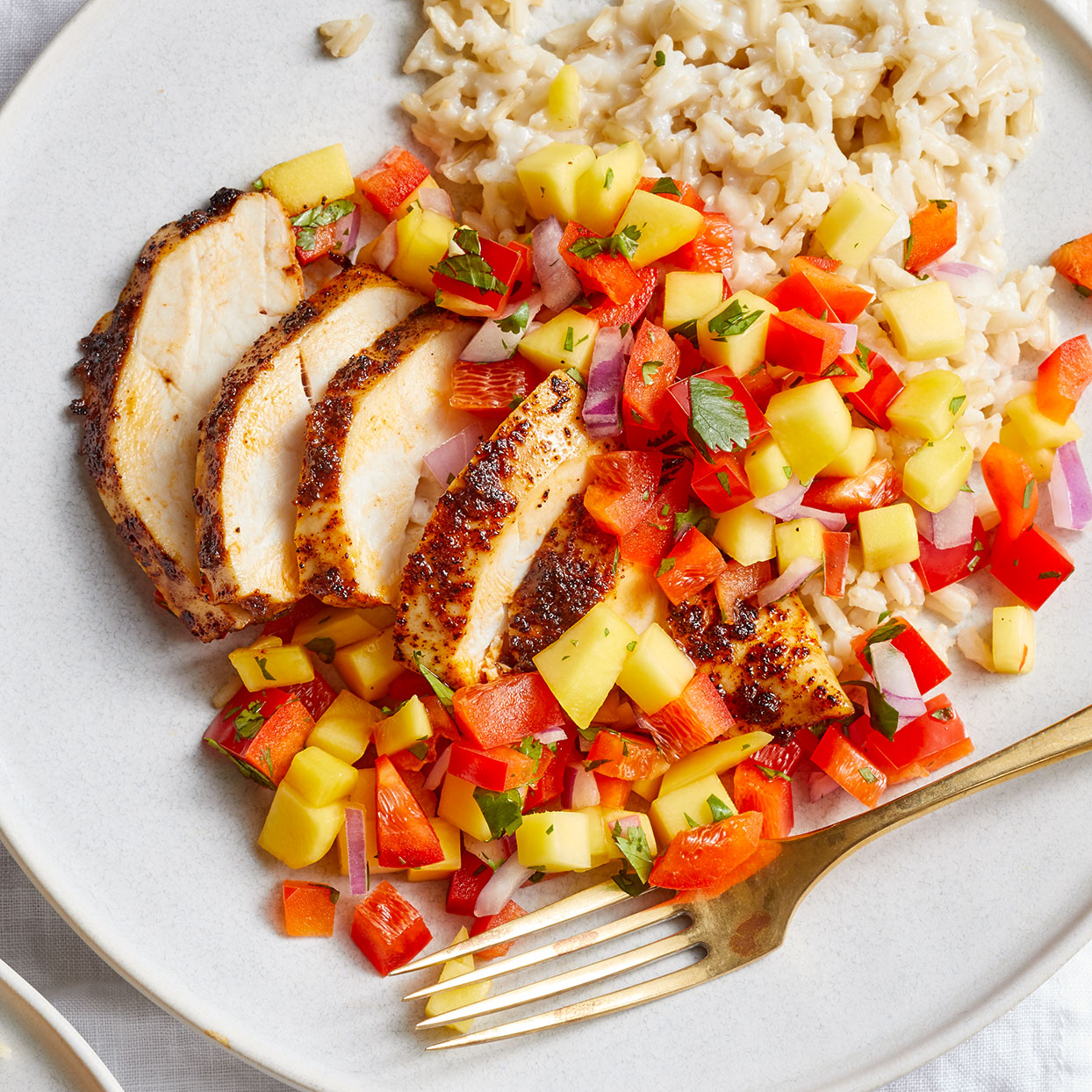 Chili-Rubbed Chicken with Coconut Rice & Mango Salsa