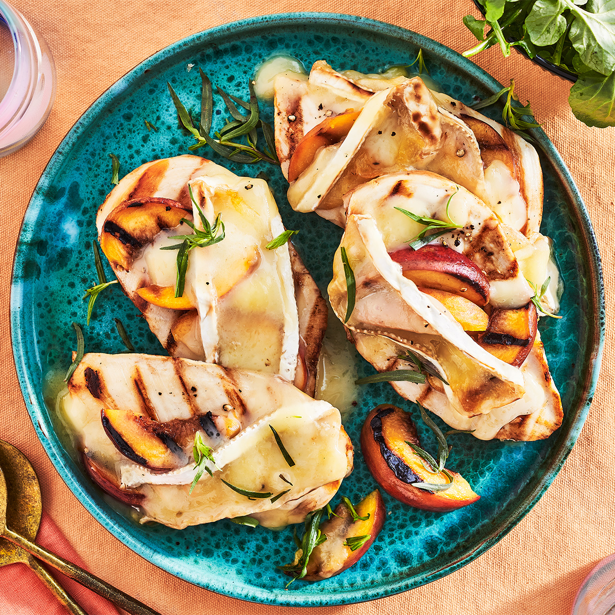 Grilled Peach & Brie Smothered Chicken