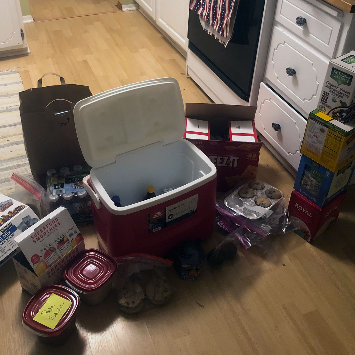 Cooler with food and snacks