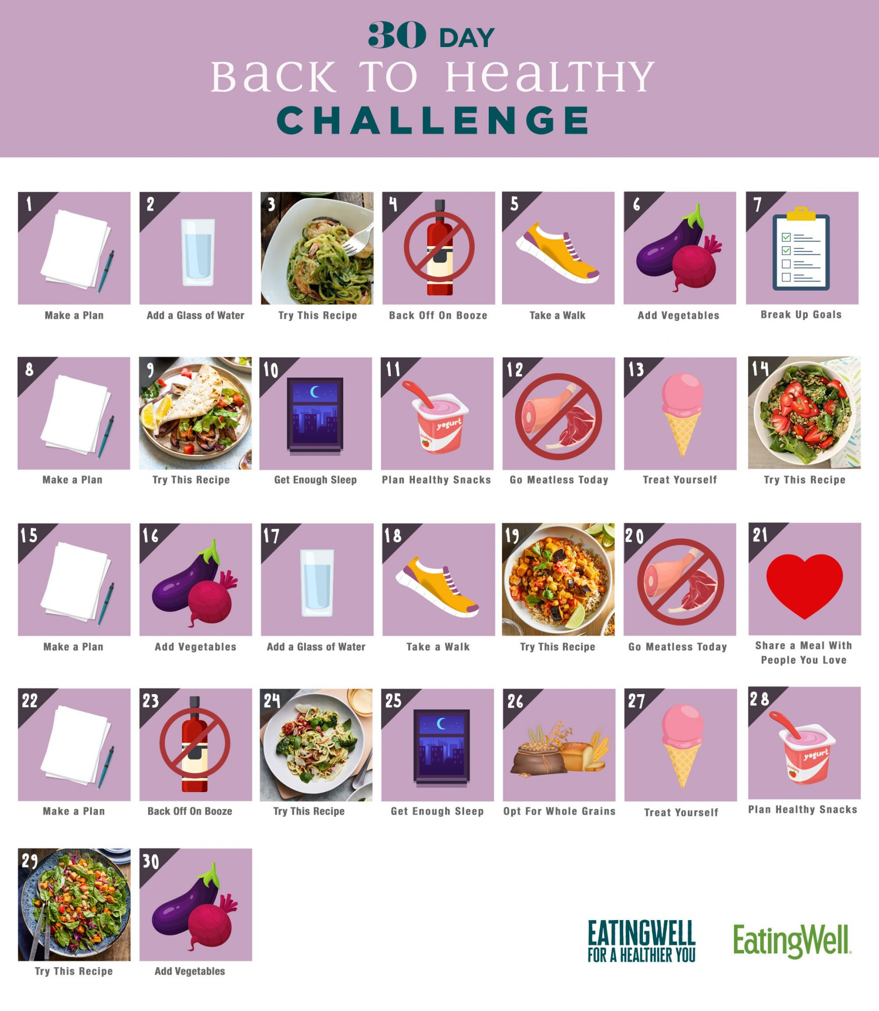 30-Day Back to Healthy Challenge Calendar graphic