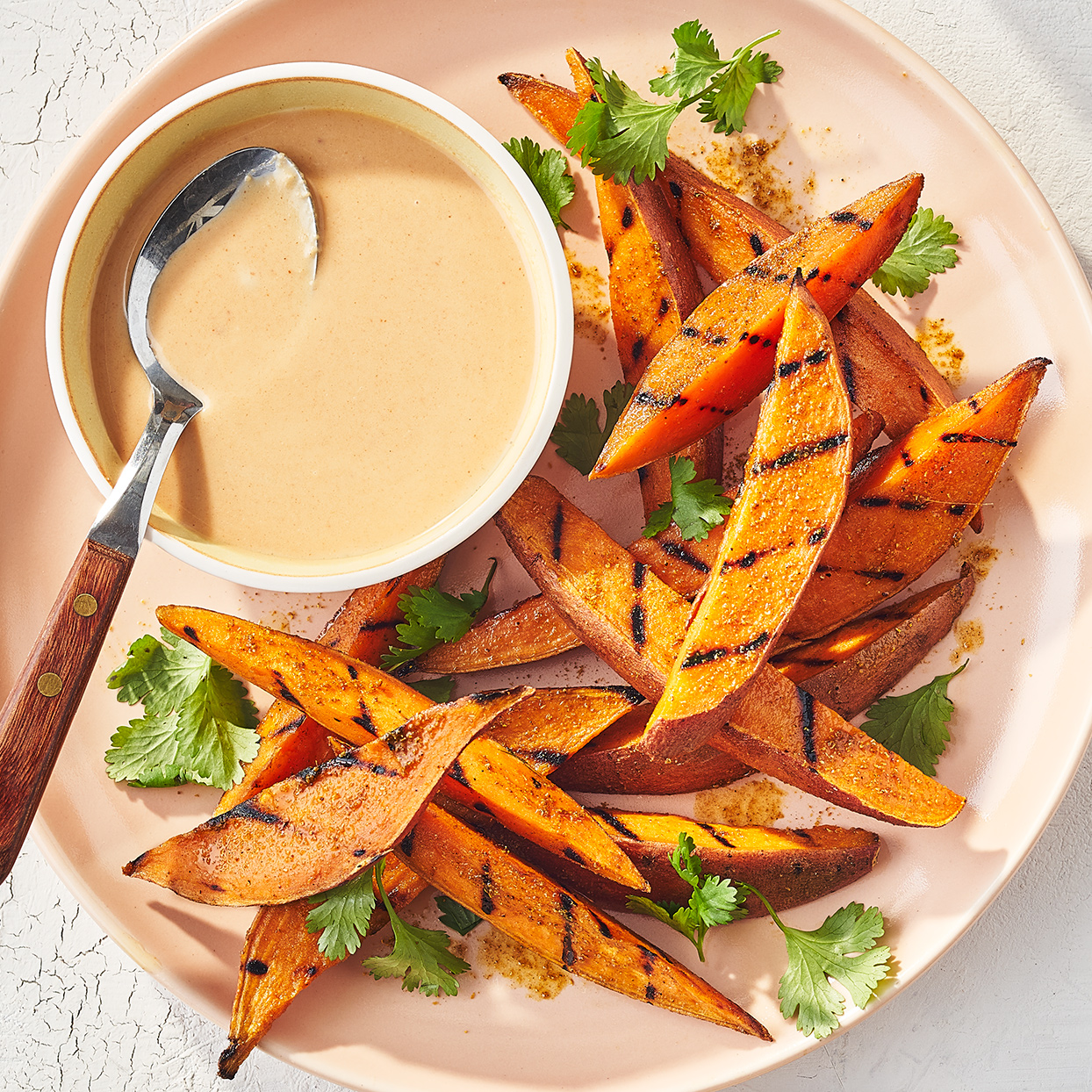 Grilled Sweet Potato Wedges with Peanut Sauce