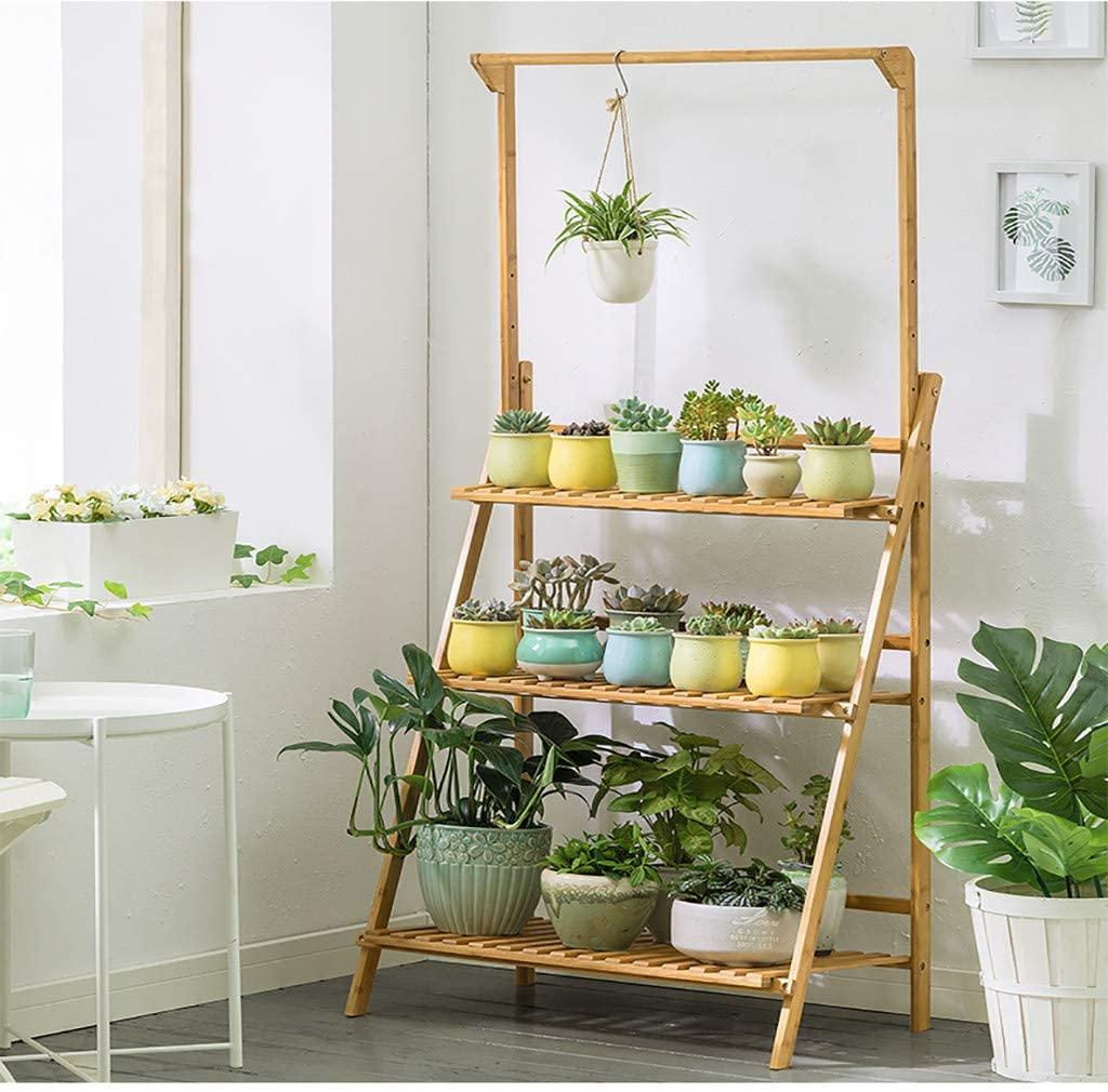 Rustic Wooden 3-Tier Ladder Folding Raised Plant Stand