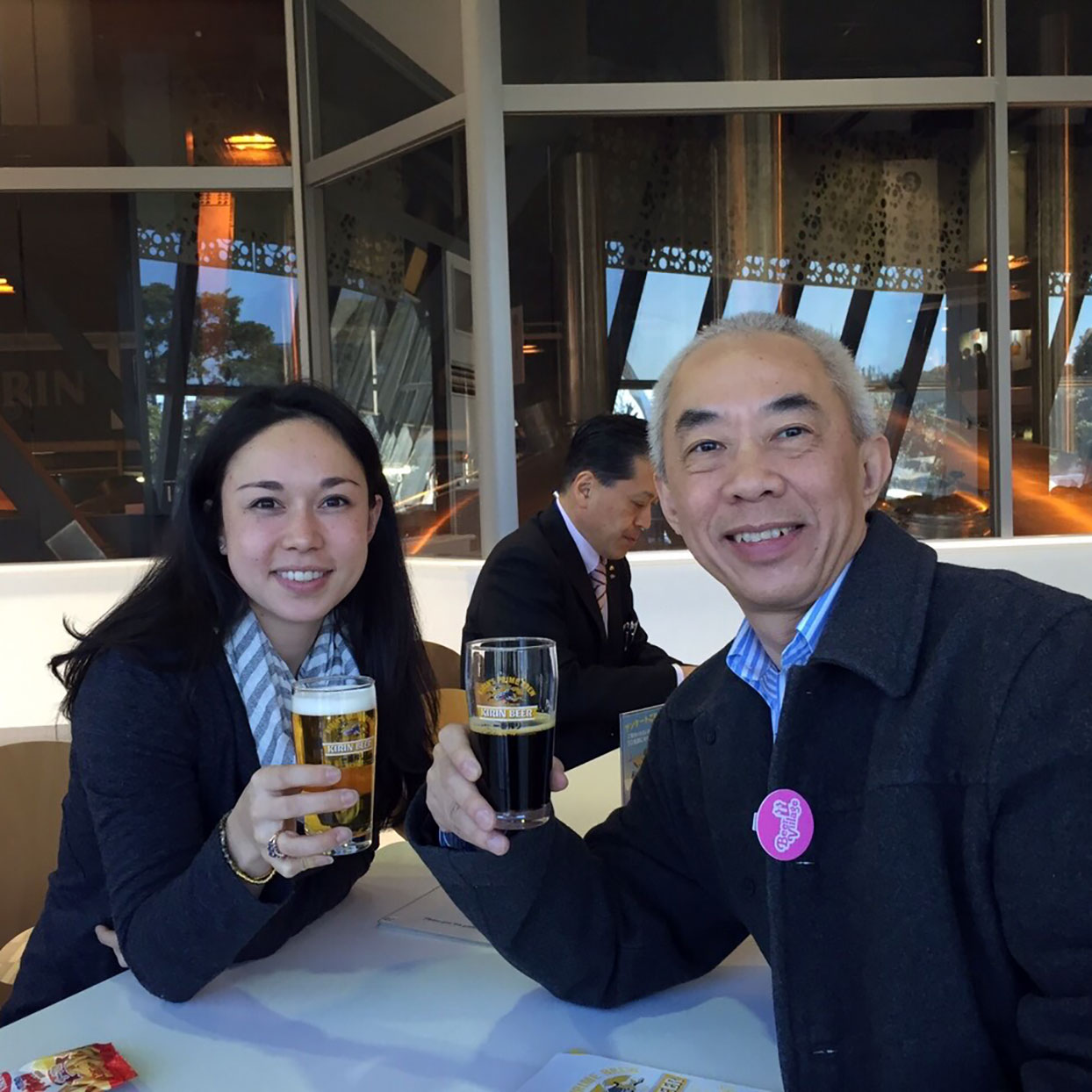 Breana Lai Killeen and her father at the Kirin beer factory in Japan
