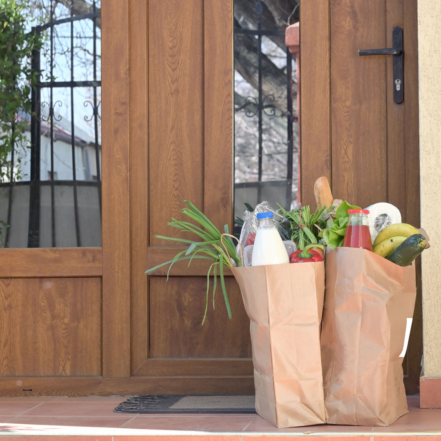 groceries on doorstep