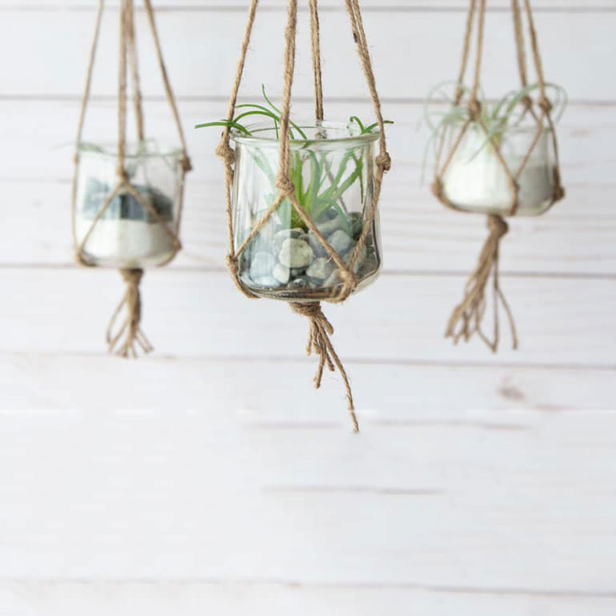 glass yogurt macrame planter