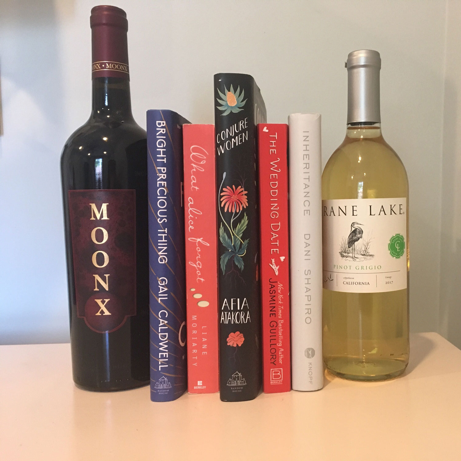 wine bottle as bookend