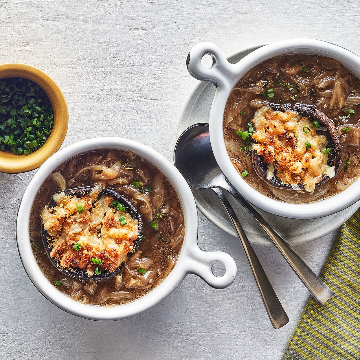 French Onion Soup with Portobello Cheese  Toast