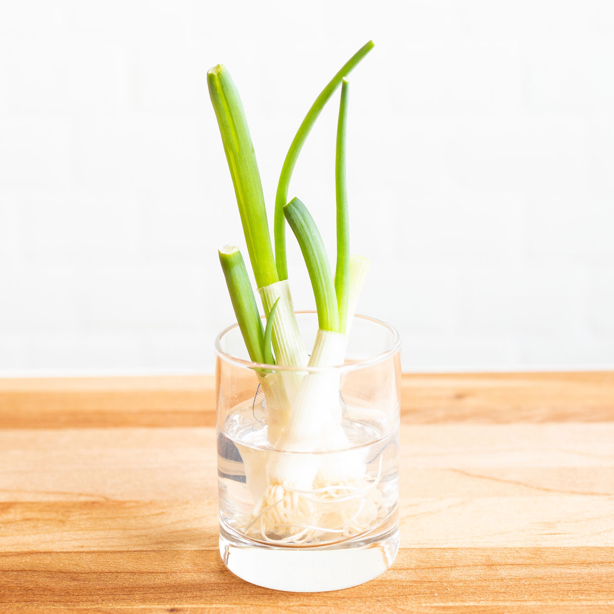 green onions in a glass