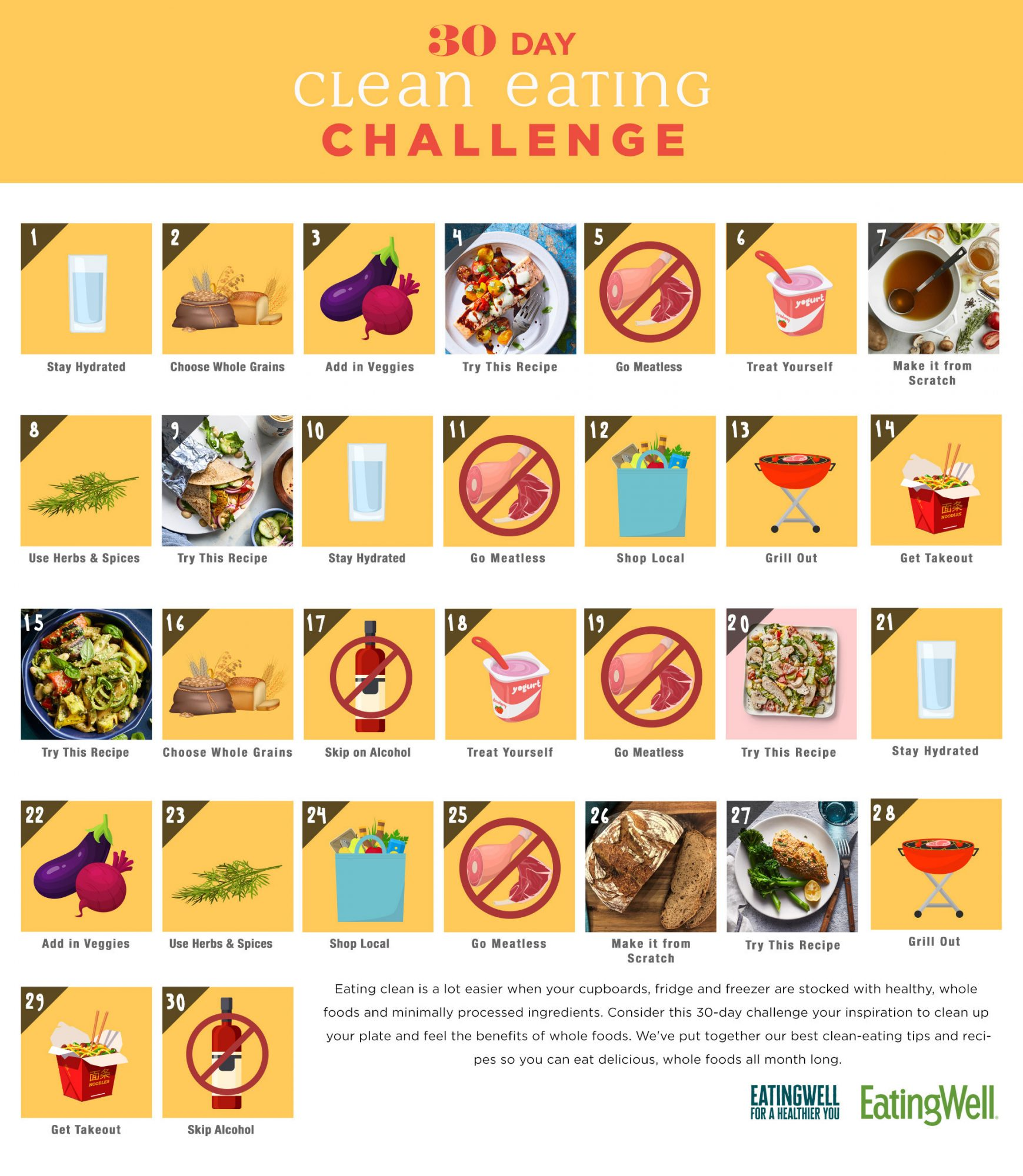 30 Day Clean Eating Challenge Calendar with tips