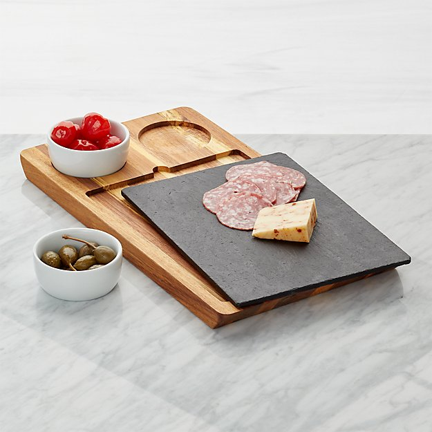 Crate & Barrel Slate & Wood Serving Board with Bowls