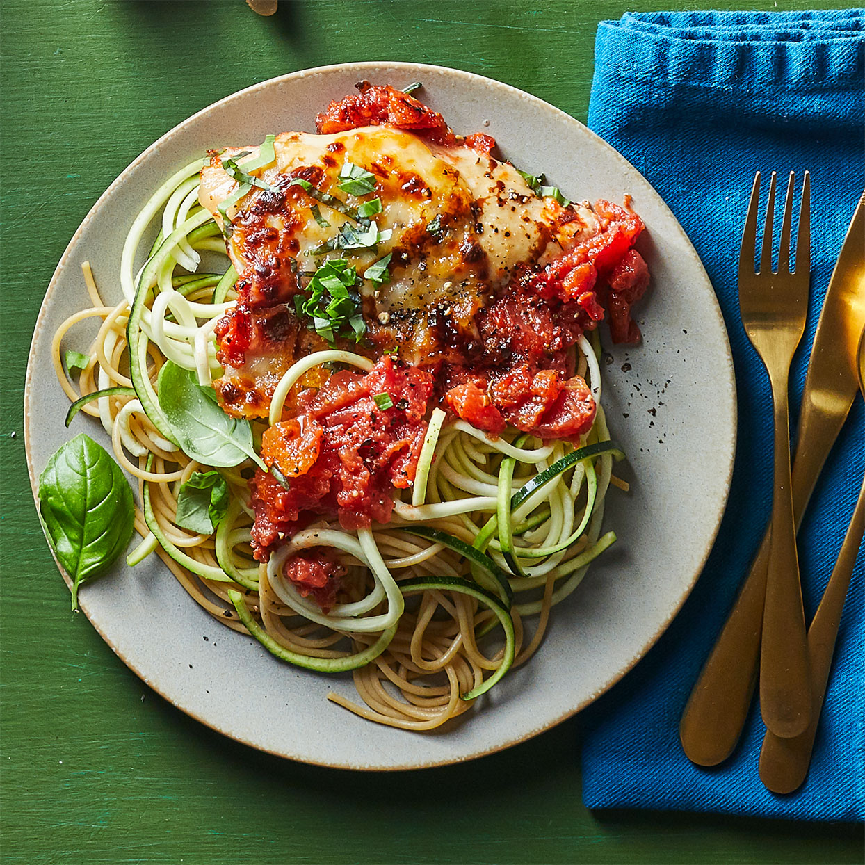 Balsamic Chicken Pasta Bake with Zucchini Noodles