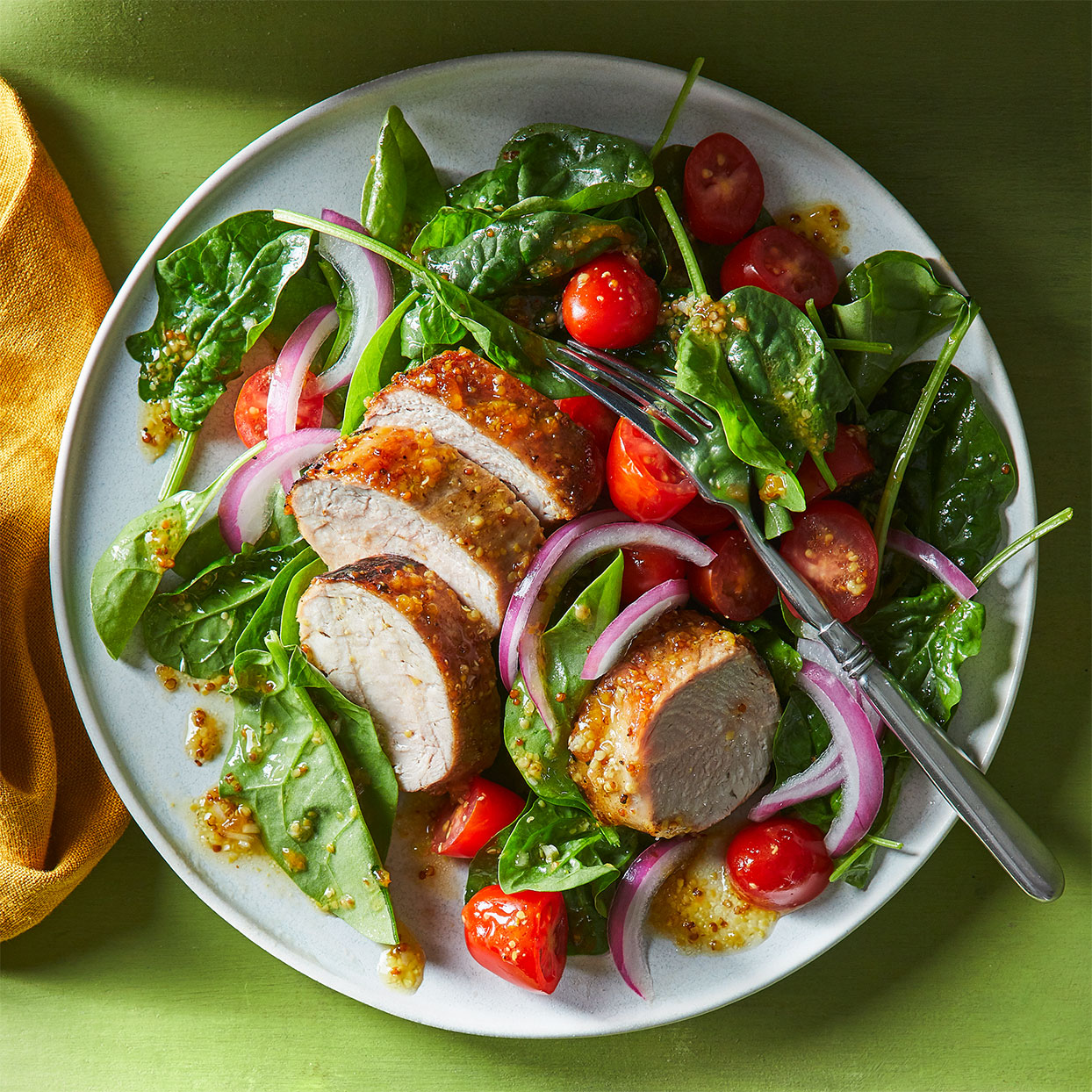 Apricot-Mustard Pork Tenderloin with Spinach Salad
