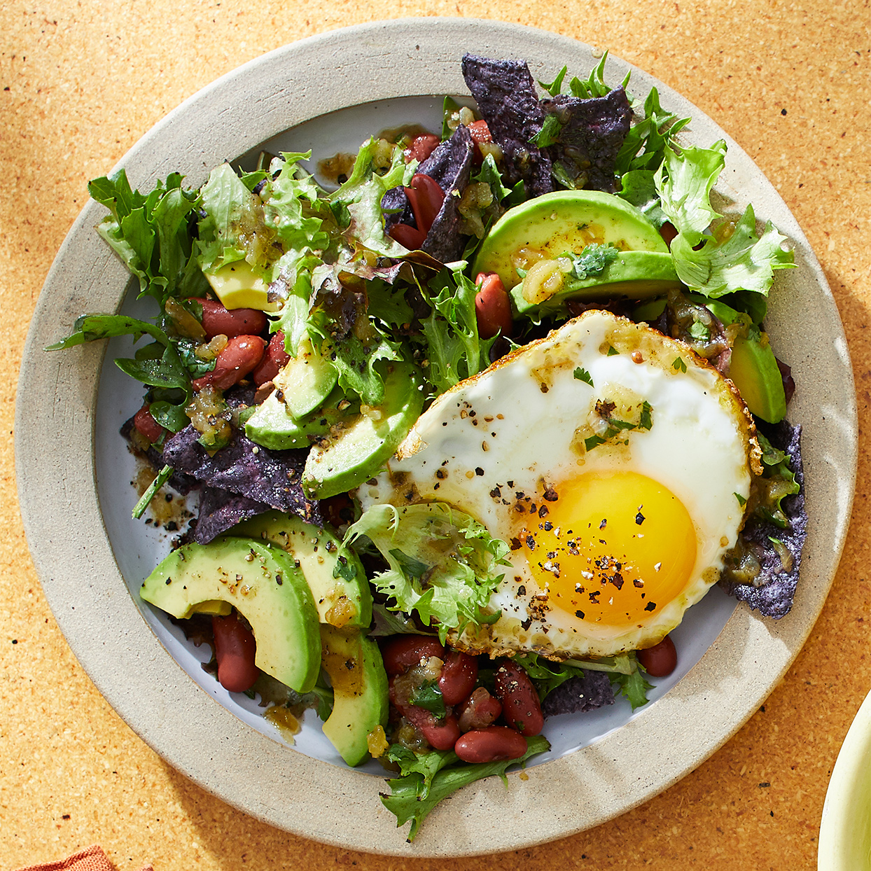 Breakfast Salad with Egg & Salsa Verde Vinaigrette