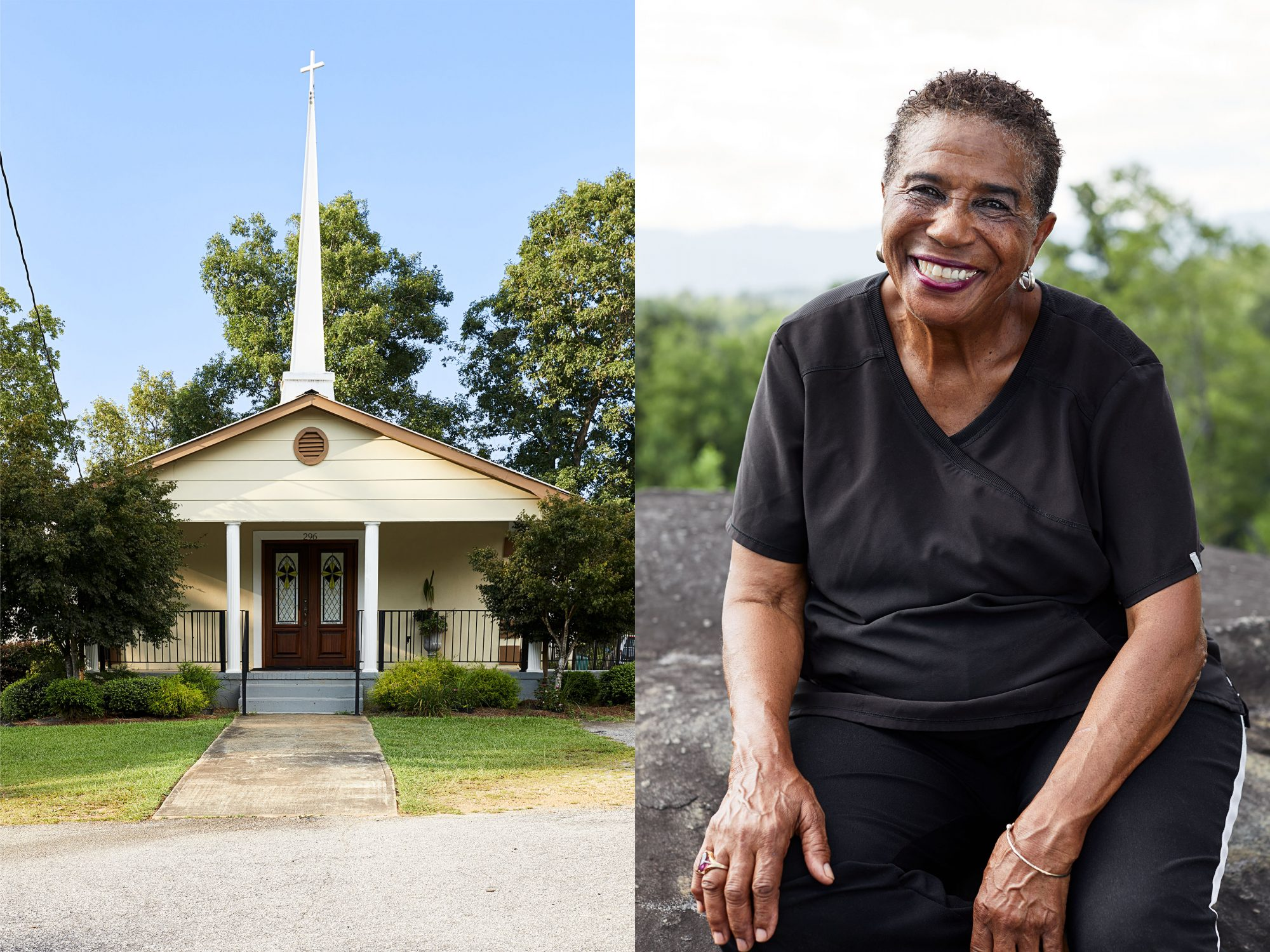 A view of the front door of Soapstone Baptist Church and portrait of Mabel sitting on a rock.