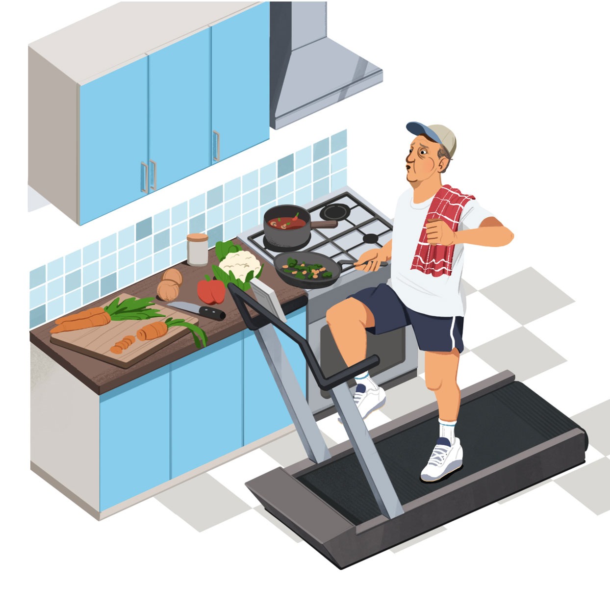 illustration of man on treadmill while cooking