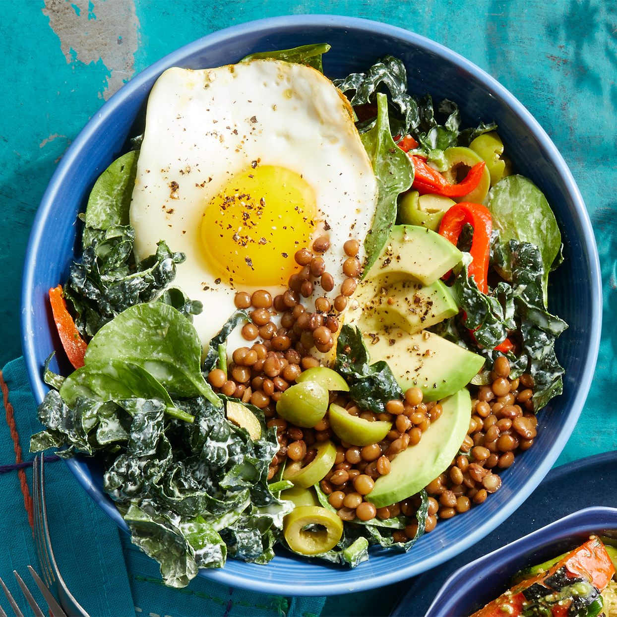 Lentil Bowls with Fried Eggs & Greens