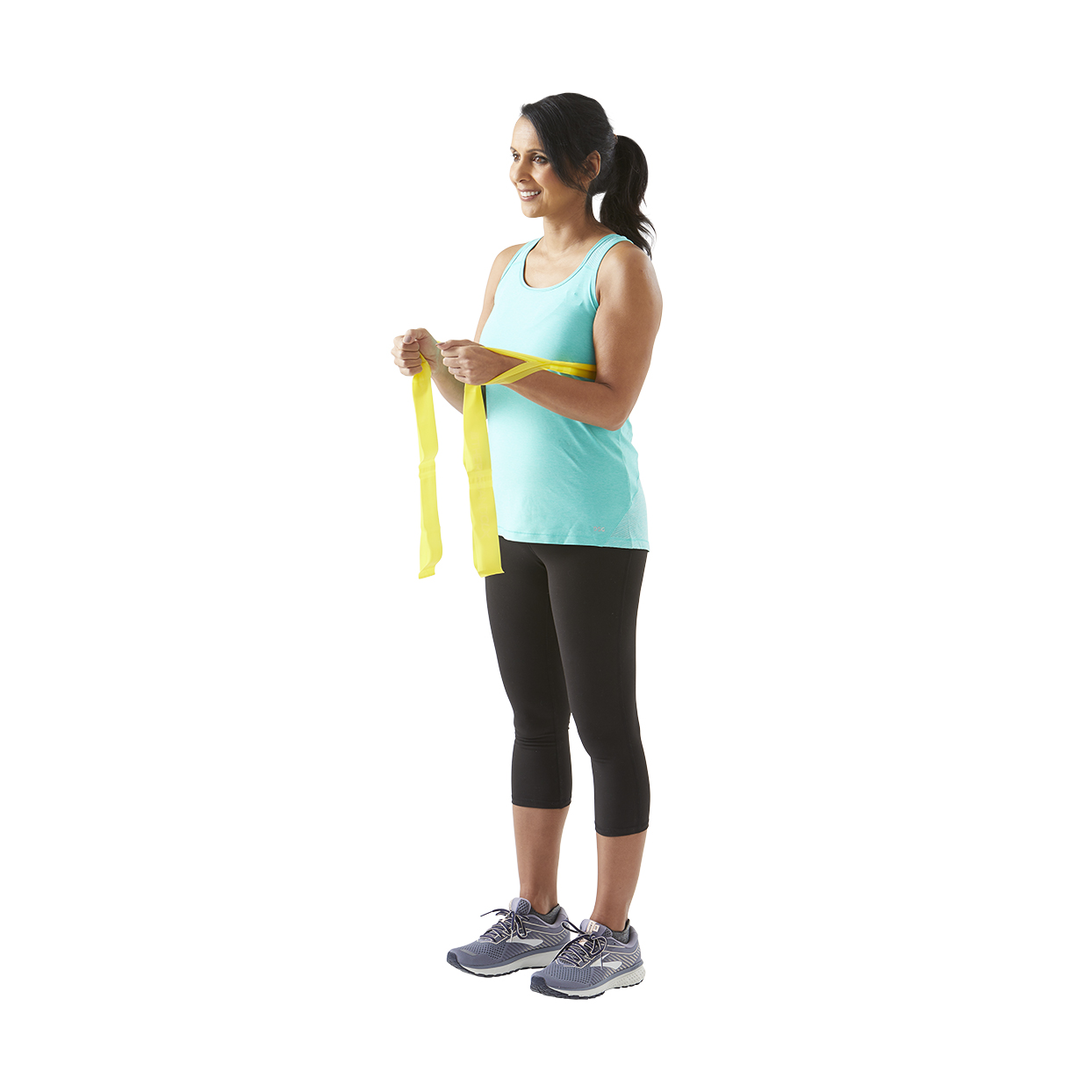 woman with resistance bands