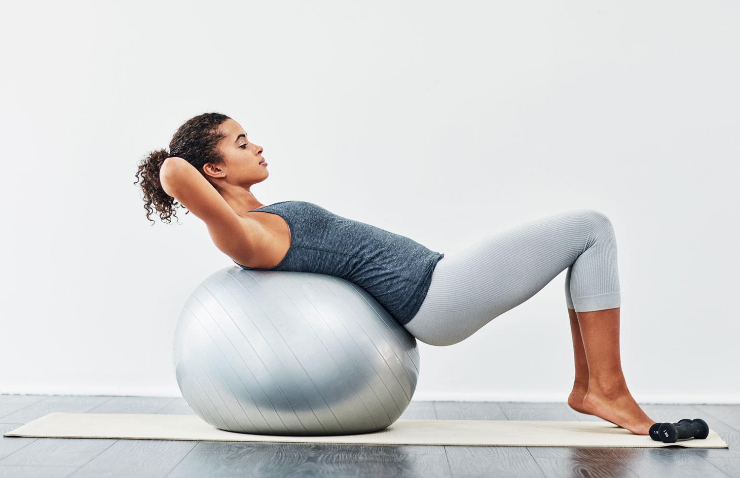 working out on exercise ball
