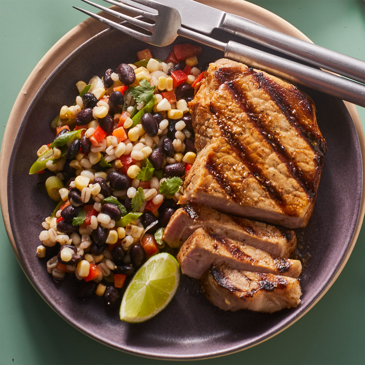 Black Bean Salad with Grilled Pork Cutlets