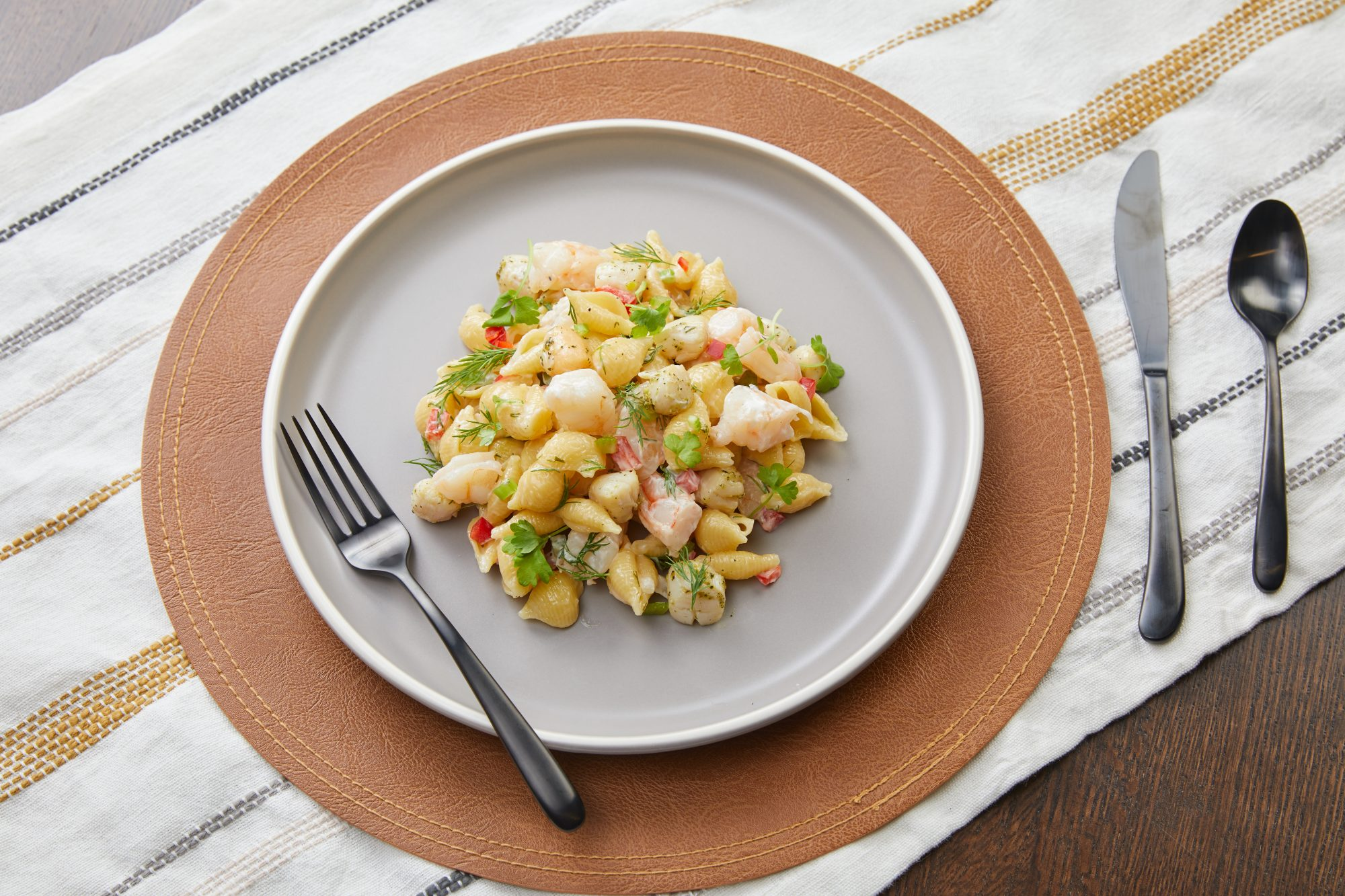 Derby day seafood pasta salad
