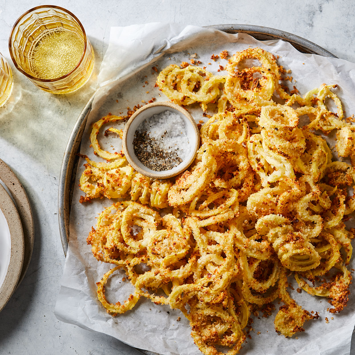 Baked Garlic-Lemon Summer Squash Curly Fries