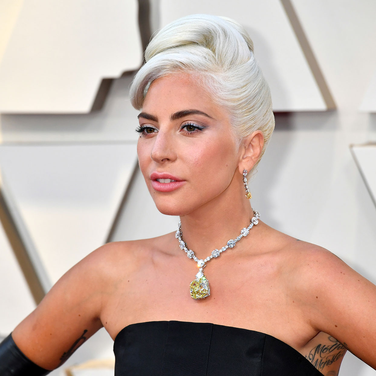 A photograph of Lady Gaga at the Academy Awards: HOLLYWOOD, CA - FEBRUARY 24: Lady Gaga attends the 91st Annual Academy Awards at Hollywood and Highland on February 24, 2019 in Hollywood, California. (Photo by Jeff Kravitz/FilmMagic)