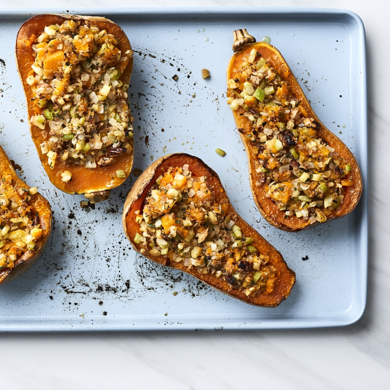 Apple and pecan stuffed butternut squash