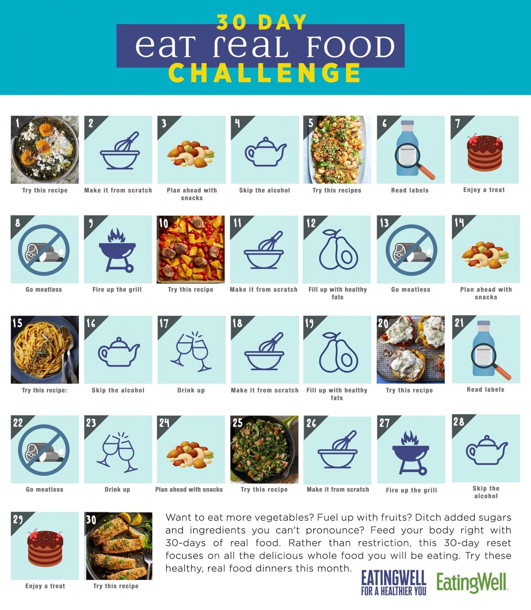 30-Day Eat Real Food Challenge calendar