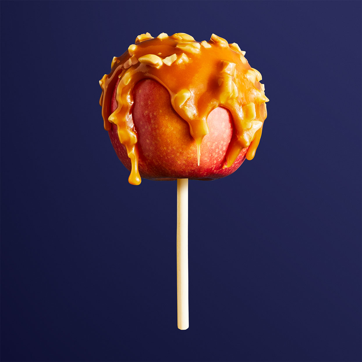 caramel apple on a stick against a dark blue background