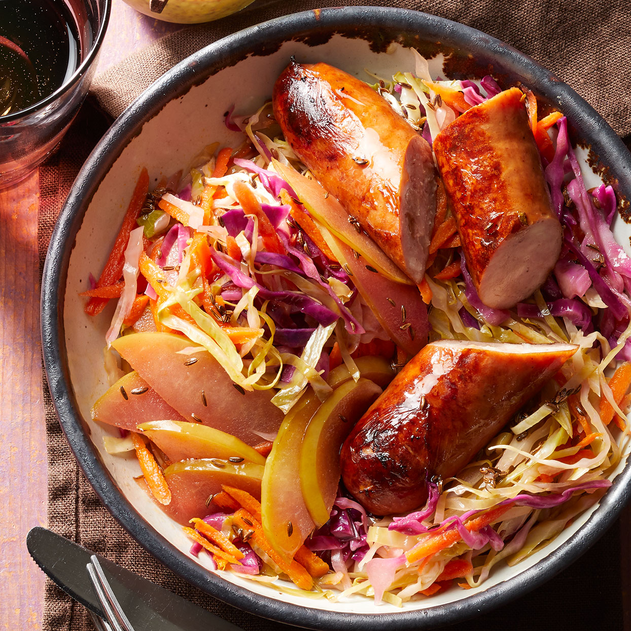 Chicken Sausage with Quick Sauerkraut
