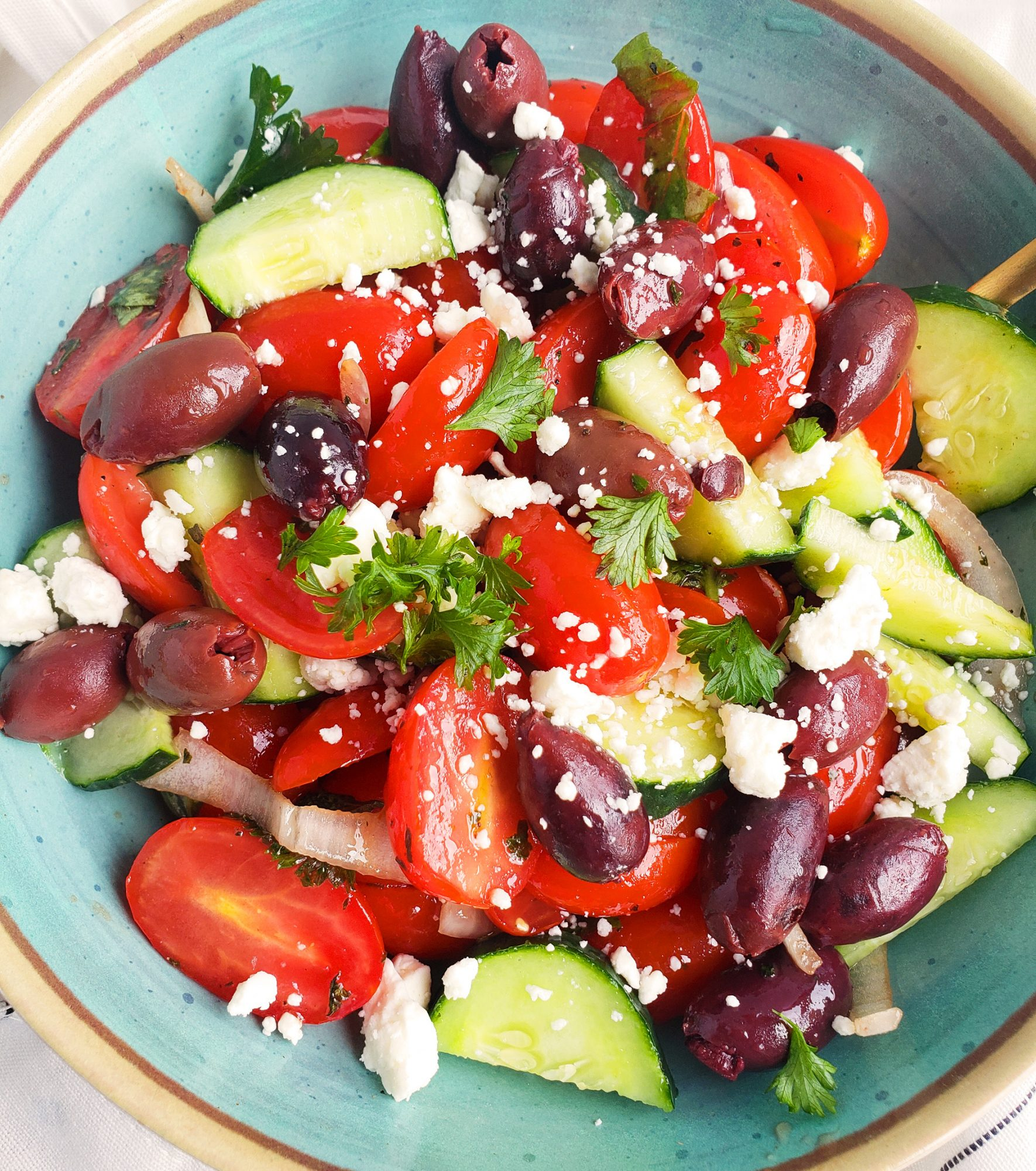 salad with tomatoes cucumbers and olives