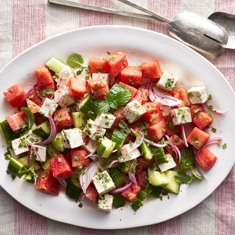 Watermelon, Cucumber Feta Salad