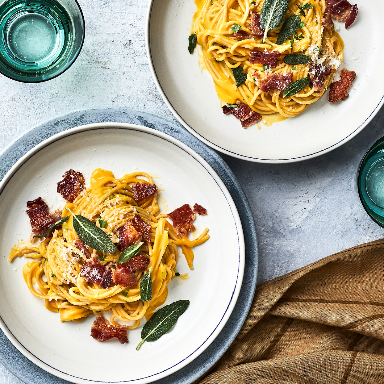 Whole-Wheat Spaghetti Carbonara with Butternut Squash