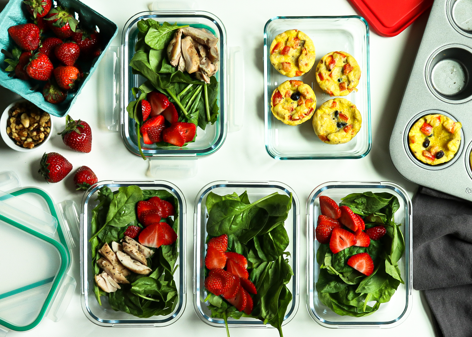 strawberry salad and egg muffin meal prep