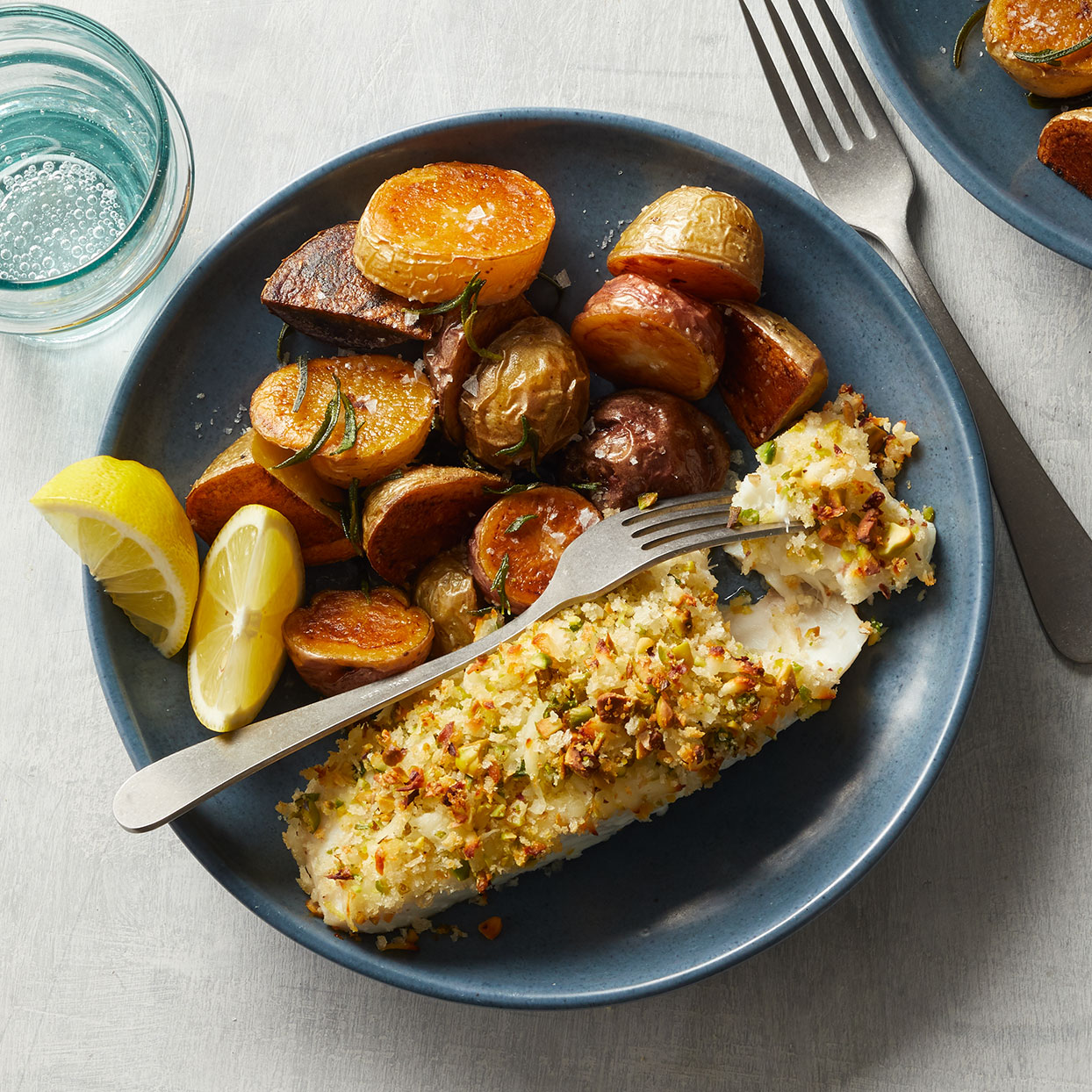Pistachio-&-Halloumi-Crusted Halibut