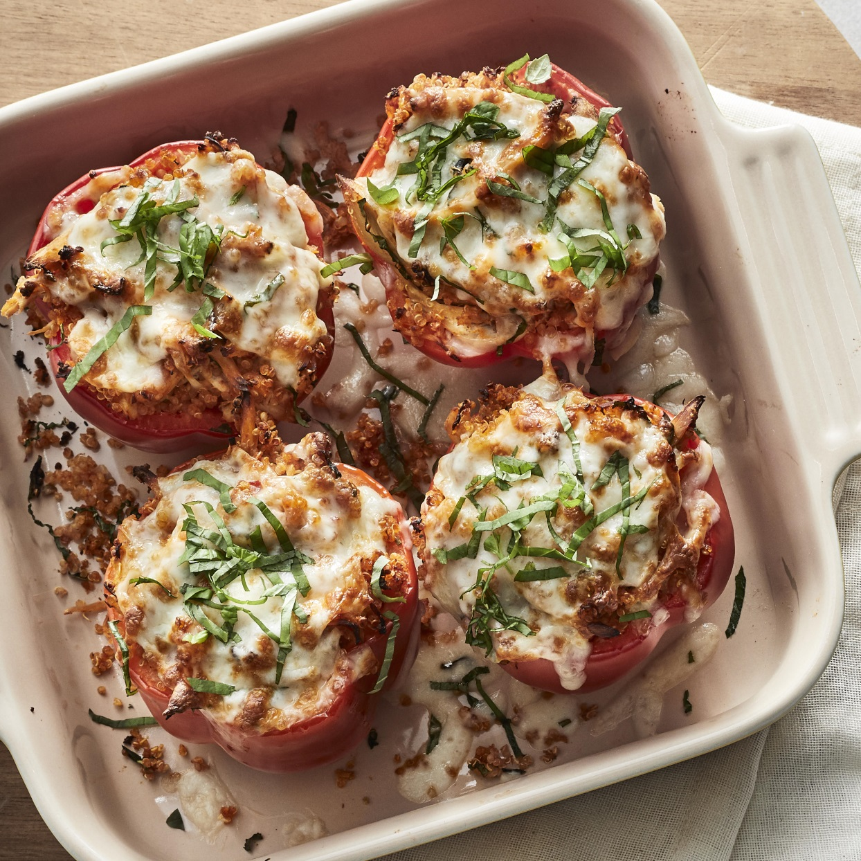 Chicken Parmesan & Quinoa Stuffed Peppers