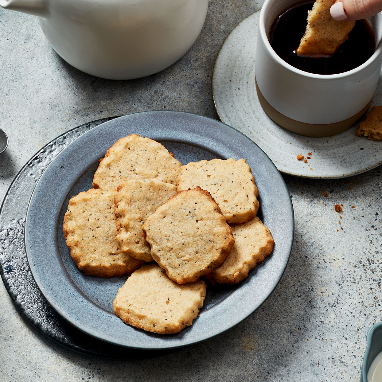 plate of spiced poppy seed shortbread cookies