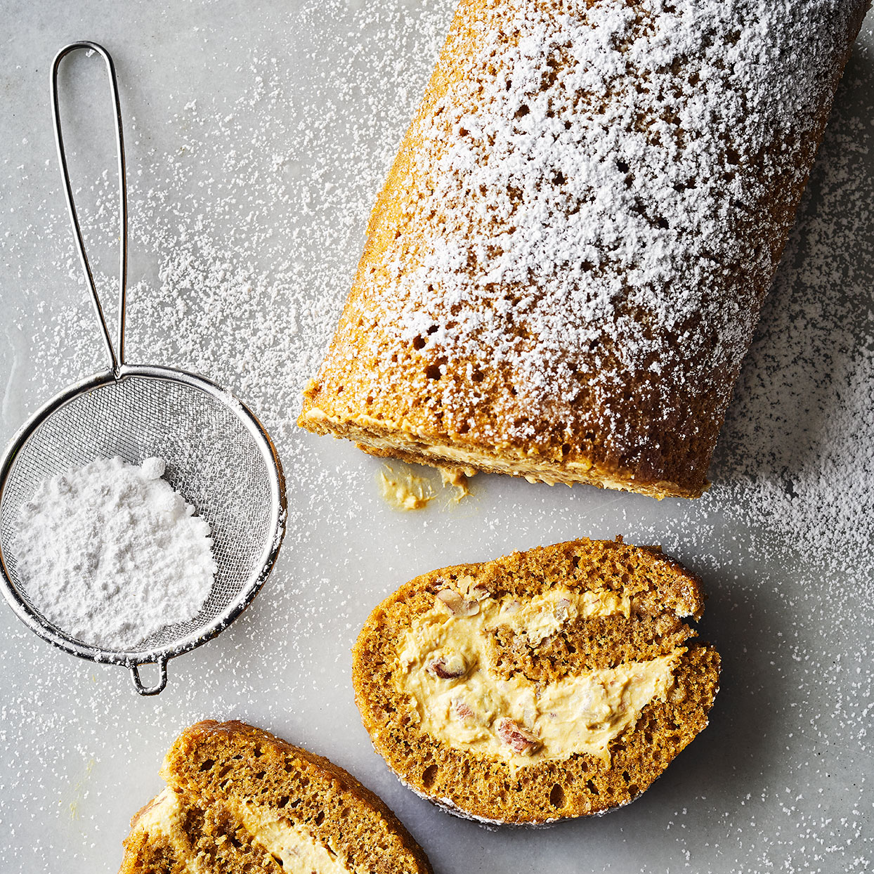 Pumpkin Roll Cake with Pecan-Cream Cheese Filling