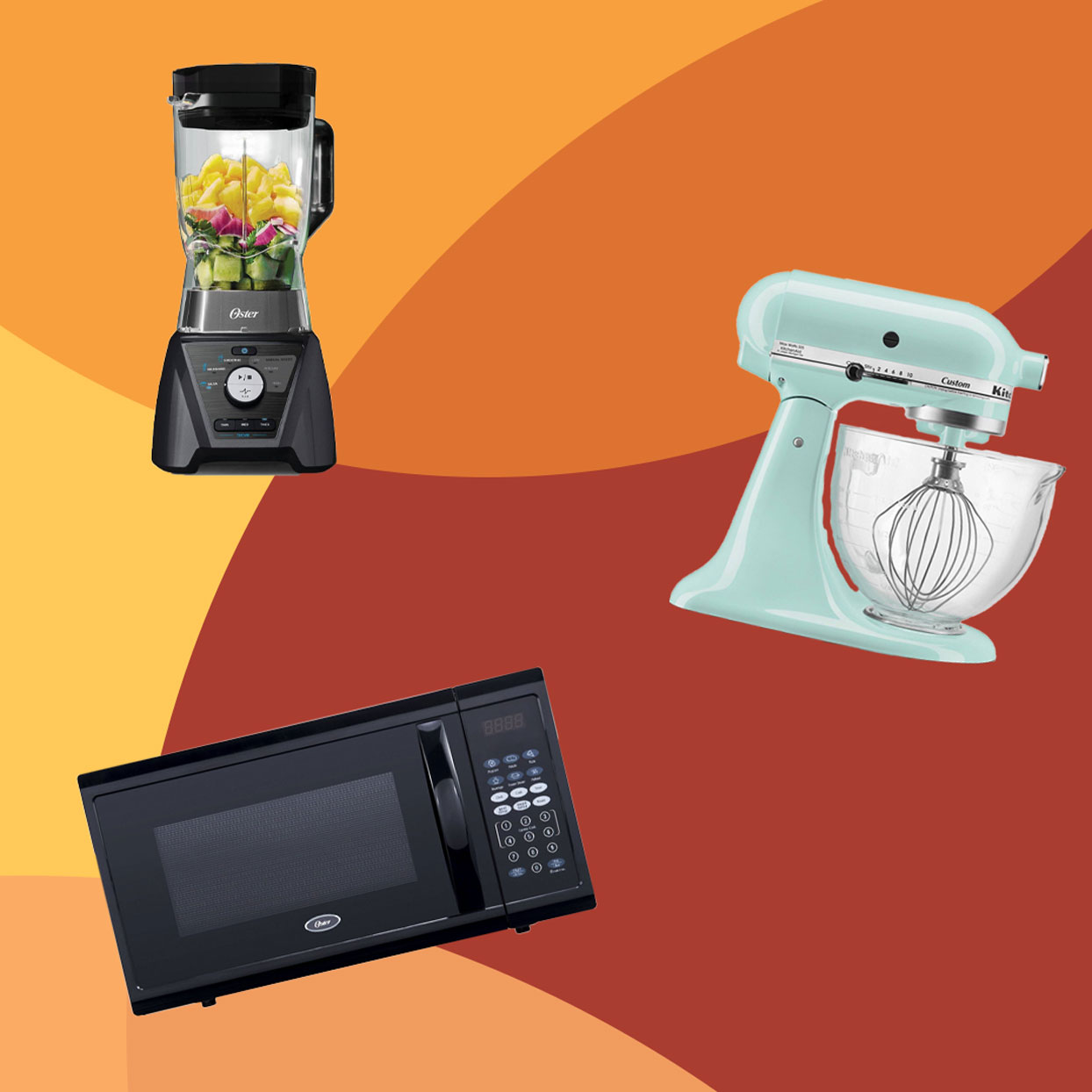 Oster microwave, Oster blender and KitchenAid mixer