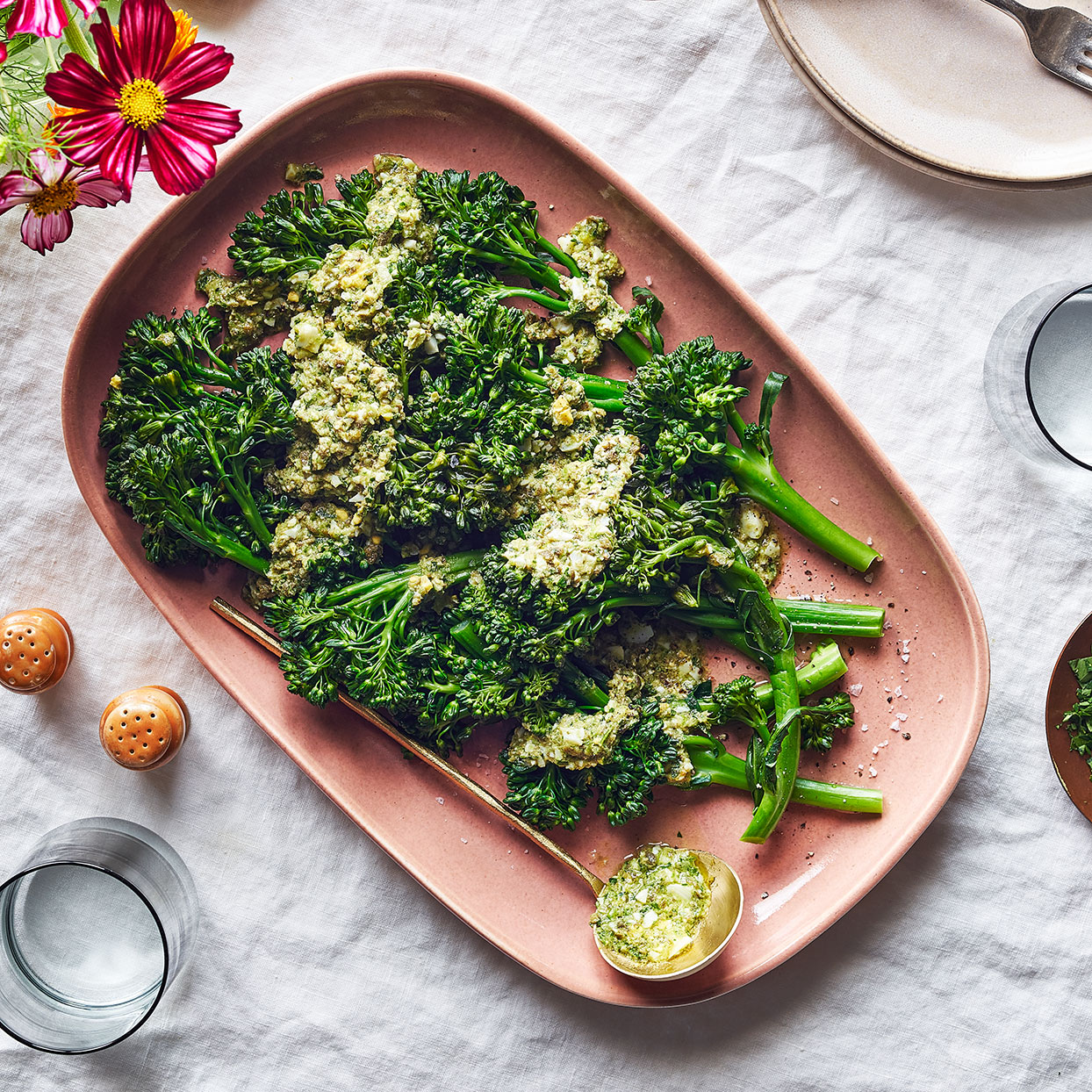Steamed Broccolini with Creamy Lemon-Caper Sauce