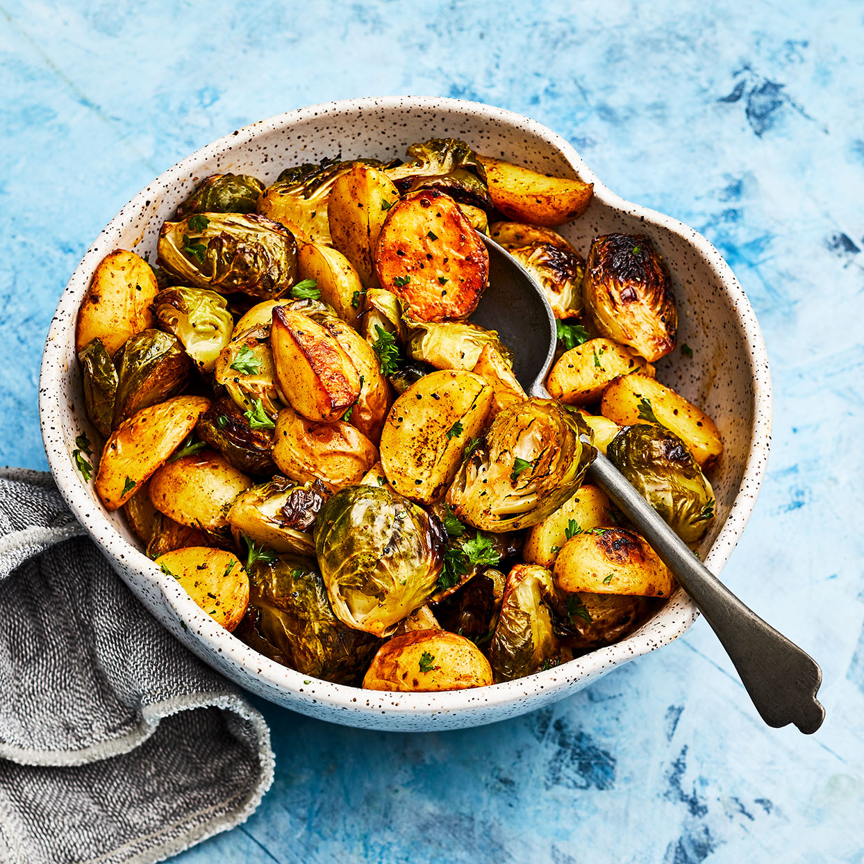 Roasted Potatoes & Brussels Sprouts